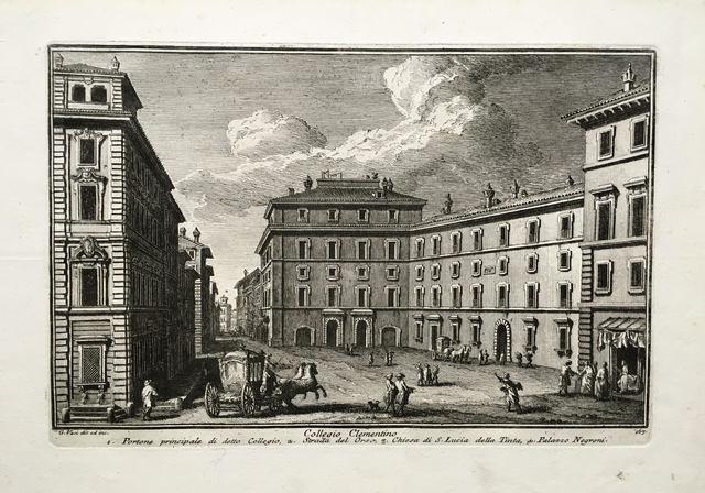 Giuseppe Vasi, 'Collegio Clementino. Plate 167 from Delle Magnificienze di Roma Antica e Moderna', 1747-1761, Print, Etching, Pia Gallo