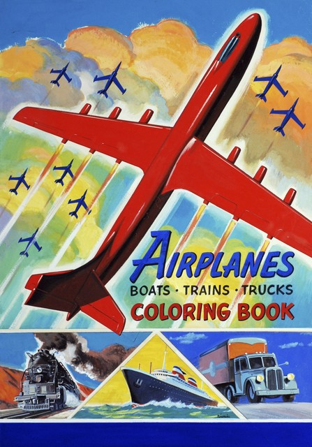, 'Airplanes, Boats, Trains, Trucks Coloring Book, design for a cover illustration,' , Norton Museum of Art