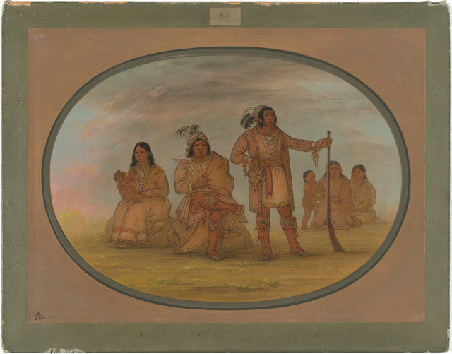 George Catlin, 'Osceola and Four Seminolee Indians', 1861/1869, Painting, Oil on card mounted on paperboard, National Gallery of Art, Washington, D.C.