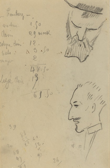 Paul Gauguin, 'A Bearded Man and a Man in Profile [verso]', 1884-1888, National Gallery of Art, Washington, D.C.