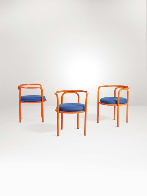 Gae Aulenti, 'Three Locus Solus series chairs in lacquered metal with fabric upholstery', 1967, Cambi
