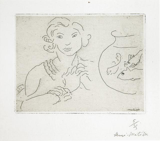 , 'Jeune femme, mains croisées près d'un bocal de poissons,' 1929, Lyndsey Ingram