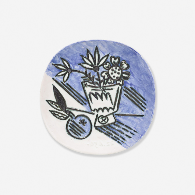 Pablo Picasso, 'Bouquet a la pomme', 1956, Design/Decorative Art, White earthenware clay, decoration accentuated with oxidized paraffin, oxides under glaze, Rago/Wright