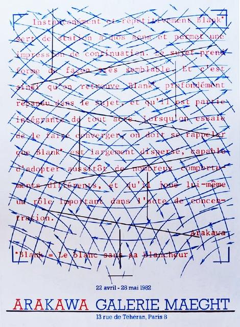 Shusaku Arakawa, 'Arakawa at Galerie Maeght', 1982, Alpha 137 Gallery
