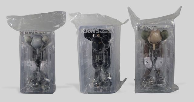 KAWS, 'Small Lie,', 2017, Other, Set of three vinyl figures, limited edition, produced by medicom, ea. in original packaging as issued, Roseberys