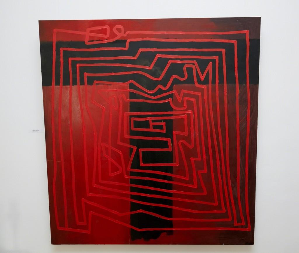"""LABYRINTH"" (2018) by Miroslav Cipár, 122 x 132 cm, acrylic on wood, photo credit: Bellart Gallery"