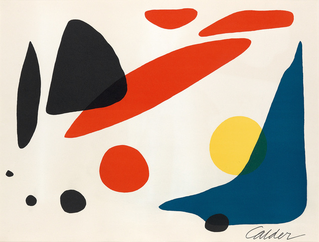 Alexander Calder, 'Composition (Blue Boomerang with Red, Black and Yellow Shapes)', 1962, Swann Auction Galleries