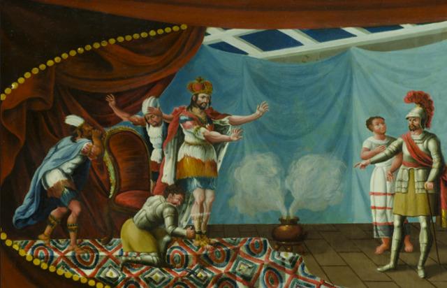 , 'Banca con escena de la aprehensión de Moctezuma por Hernán Cortés. (Fragmento),' , Daniel Liebsohn