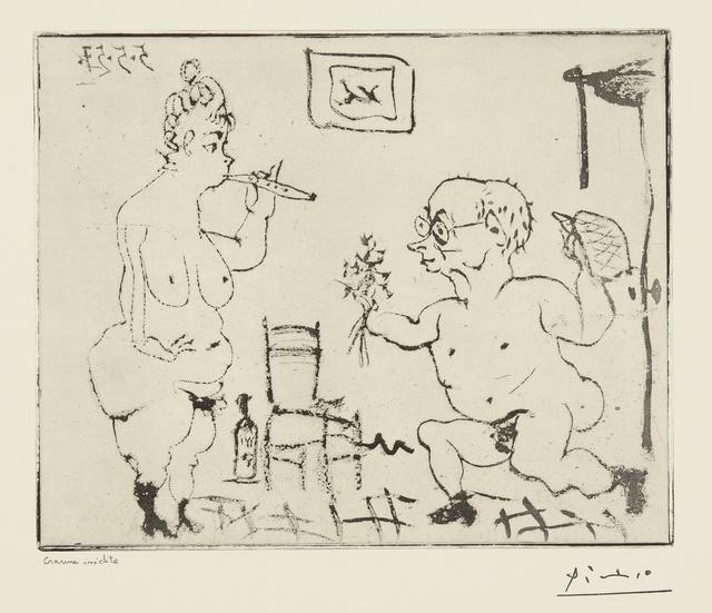 """Pablo Picasso, 'Histoire de Sabartés et de sa voisine: """"Voici quelques fleurs..."""" (Ba. 965)', 1957, Print, Sugar-lift aquatint with hand-biting, Sotheby's"""