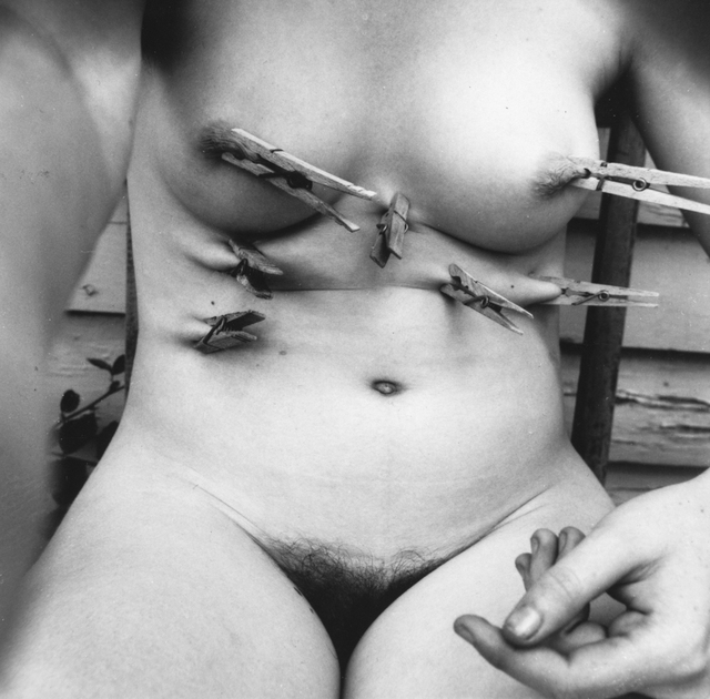 Francesca Woodman, 'Untitled (Self-portrait with Clothespins), Providence, Rhode Island', 1976, Robert Klein Gallery