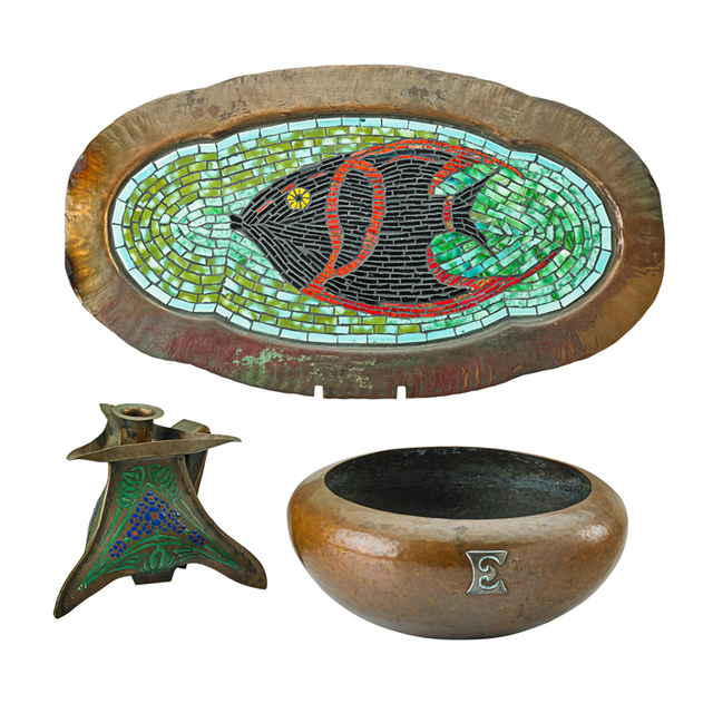 "Kalo, 'Kalo Bowl Monogrammed ""E,"" The Art Crafts Shop Candlestick, and Craftsman Studios Tray with Fish, USA', Early 20th, Rago/Wright"