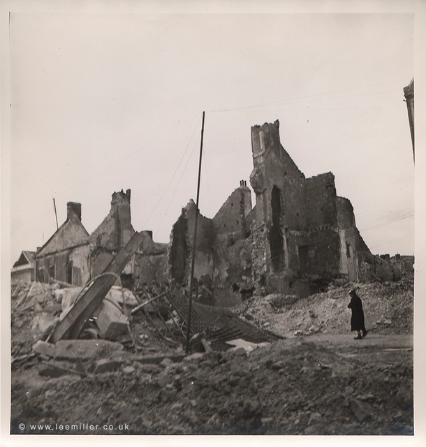 , 'BEHIND THE BATTLEFIELD: An old woman walking through the ruins, Normandy, France,' 1944, Lee Miller Archives