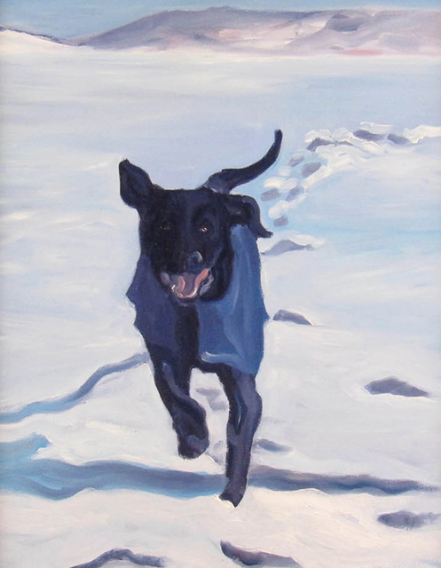 Sheila Wedges, 'Running Lab in Snwo', ca. 2010, Painting, Oil on Canvas, Janus Galleries