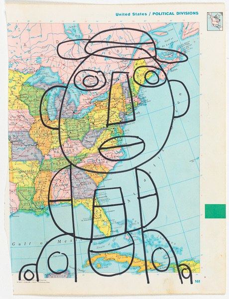 Vincent Jackson, 'Untitled (United States / Political Divisions)', 2017, Drawing, Collage or other Work on Paper, Marker on map, Creativity Explored