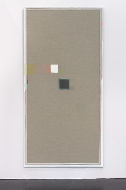 , 'Unprimed painting with square and shadow,' 2014, Linn Lühn