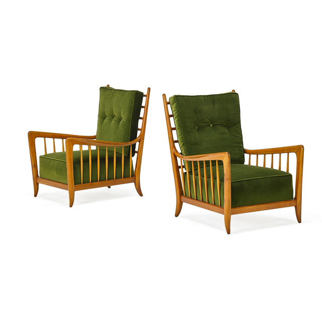 Attributed to Guglielmo Ulrich, 'Pair Of Lounge Chairs, Italy', 1940s, Rago/Wright