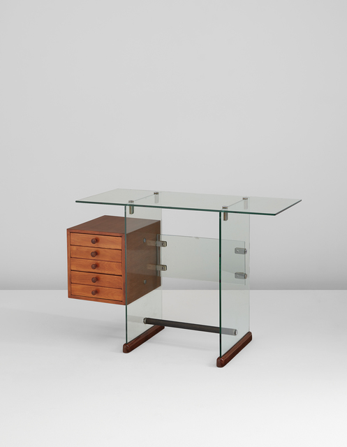 Gio Ponti, 'Desk, from the Vetrocoke offices, Milan', 1939, Design/Decorative Art, Vitrex glass, sycamore-veneered wood, walnut, nickel-plated metal, rubber, Phillips