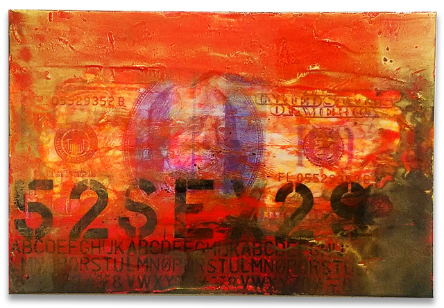 Fidel Rodriguez, 'Sex Hundred Bucks', 2019, Mixed Media, Paper, acrylic, gold dust and resin on canvas, ARTSPACE 8