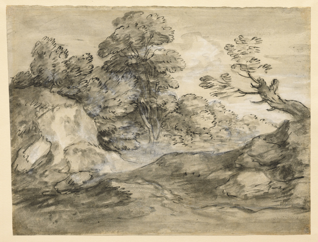 , 'Rocky Wooded Landscape with Winding Track,' Late 1770s, Clark Art Institute