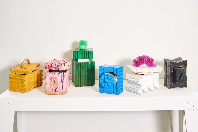 , 'BS Box Party 1-6 [Left to Right: Gold Member; Little Pony Drop; Brutalist Poof; Channellock Blue; Magic Erasure; X-Factor],' 2018, Hodges Taylor