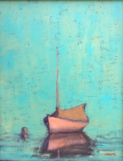 """, '""""Pleasant Bay (Evening)"""" White Sailboat Moored with Turquoise Sea and Sky,' 2010-2017, Eisenhauer Gallery"""