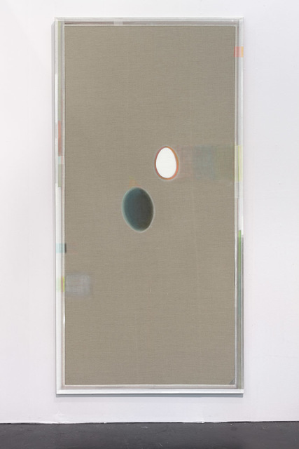 , 'Unprimed painting with egg and dying shadow,' 2014, Linn Lühn