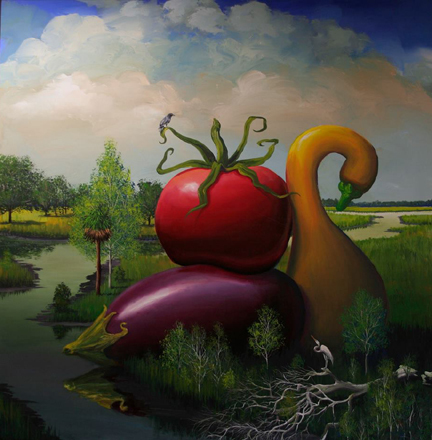 Bill Mead, 'Eggplant, Tomato, and Squash', 2014, Painting, Acrylic on Board, Zenith Gallery