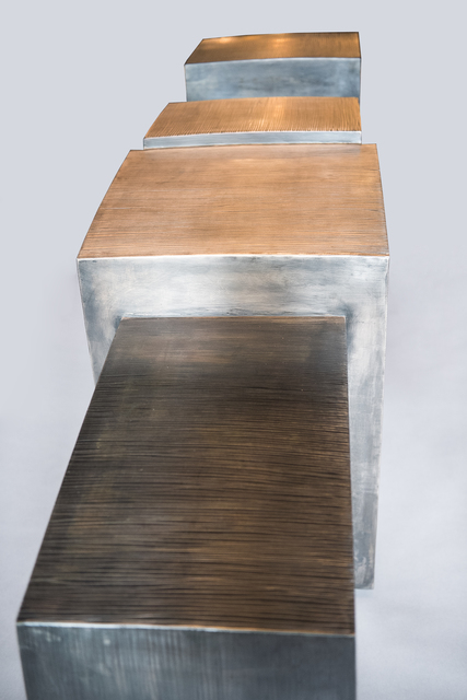 Gary Magakis, 'Blackened Steel and Bronze Console with Cantilevered End Cabinets', 2014, Todd Merrill Studio