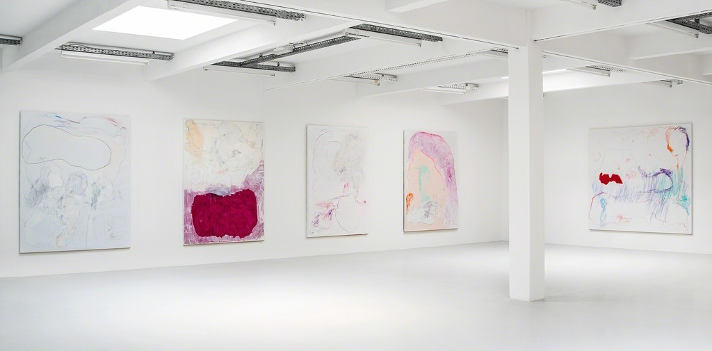 Gonn Mosny, exhibition view, 2017. From left: Gonn Mosny, 2016, LW 213 200 cm x 165 cm / 2015, LW 199 200 cm x 149 cm / 2016, LW 210 200 cm x 140 cm / 2016, LW 223 200cm x 150cm / 2017, LW 236 200 cm x 215 cm, courtesy by the artist and Volker Diehl Gallery. Photo: Verena Nagl