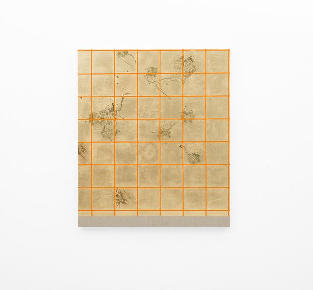 , 'Hair orchid sweat print, orange grid,' 2018, SMAC