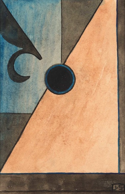 John Storrs, 'Abstraction, Fleur de Lis, circa', Circa 1930s, Drawing, Collage or other Work on Paper, Watercolor and ink on paper, Doyle