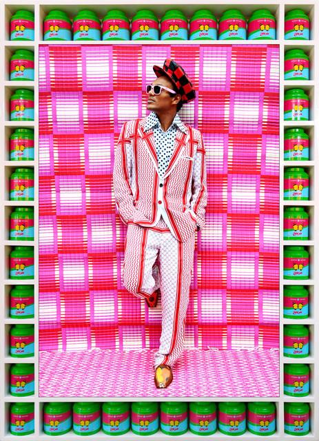 Hassan Hajjaj, 'Che Lovelace Standin'', 2012/1433 (Gregorian/Hijri), Mixed Media, Metallic Lambda on 3mm Dibond in a Poplar Sprayed-White Frame with HH Green Tea Boxes with Butterfly, Yossi Milo Gallery