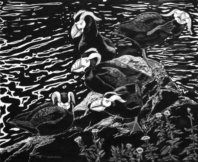 Tony Angell, 'Lounging Tufted Puffins', 1982, Foster/White Gallery