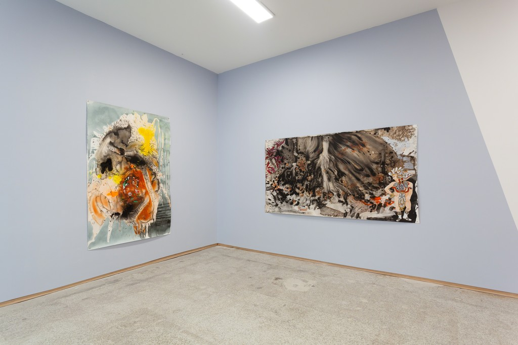 Installation view of Elisabeth Condon's Garden of Chaos (left) and The Banishing (right), both 2018.