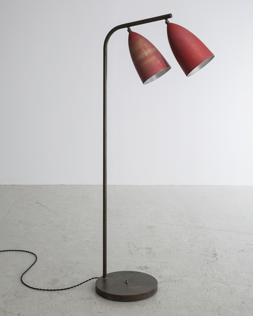 , 'Floor lamp in enameled aluminum on a chrome-plated steel base with two cone-shaped shades,' 1948-1949, R & Company