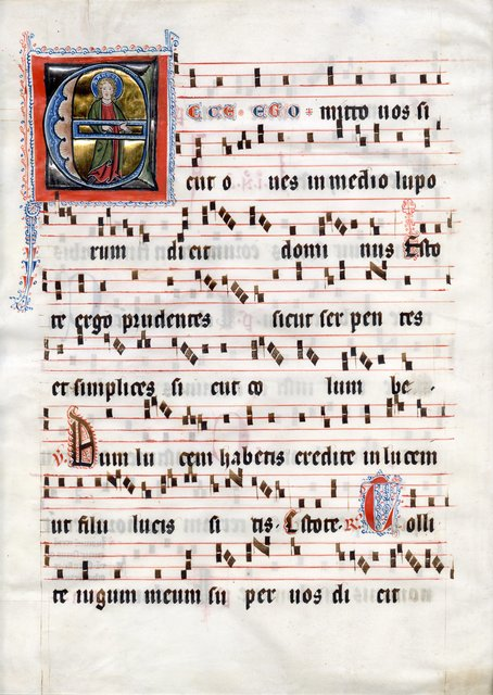 , 'Saint Bartholomew in an initial 'E' on a leaf from a Medieval Antiphonal,' c. 1310, Les Enluminures