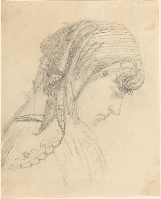 John Flaxman, 'Head of a Woman in a Scarf, Looking Down', Drawing, Collage or other Work on Paper, Graphite, National Gallery of Art, Washington, D.C.