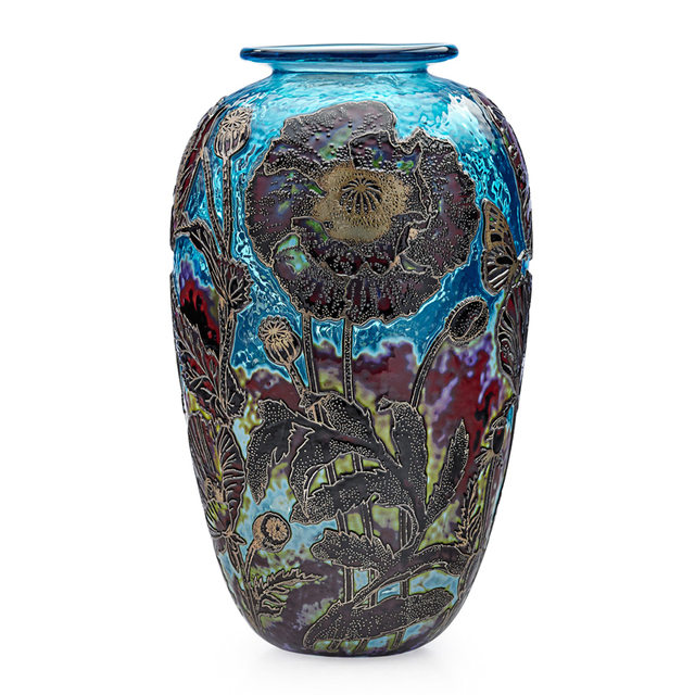 Jonathan Harris, 'Vase With Poppies, England', 2011, Design/Decorative Art, Acid-Etched, Enameled and Fire-Polished Cameo Glass, Rago/Wright