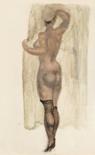 , 'Nude from the Back with Black Half Stockings,' ca. 1919, Galerie Bei Der Albertina Zetter