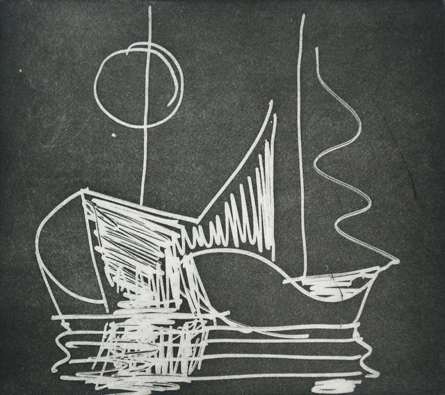 Paul Resika, 'Little Boats II', 2001, Drawing, Collage or other Work on Paper, Black and white etching, Bookstein Projects
