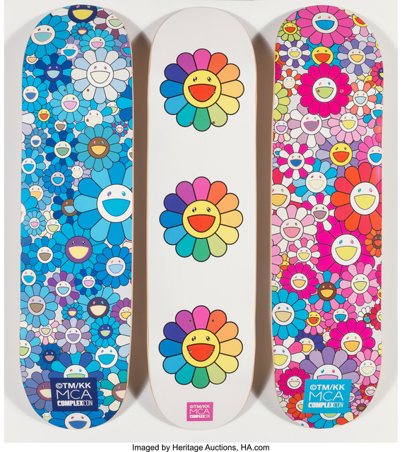 Takashi Murakami, 'Multi Flower 8.0 Skate Decks (Blue, Pink, and White) (three works)', 2017, Heritage Auctions