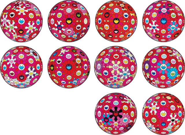 Takashi Murakami, 'Flowerball (3D) – Papyrus; Letter to Picasso; Flowerball (3D); Hey You! Do You Feel What I Feel?; Flowerball (3D) – Turn Red!; Flowerball (3D) – Red, Pink, Blue; Groping for the Truth; Flowerball (3D) – Blue, Red; There is Nothing Eternal in this World That is Why You are Beautiful; and Comprehending the 51st Dimension', 2013-2014, Phillips