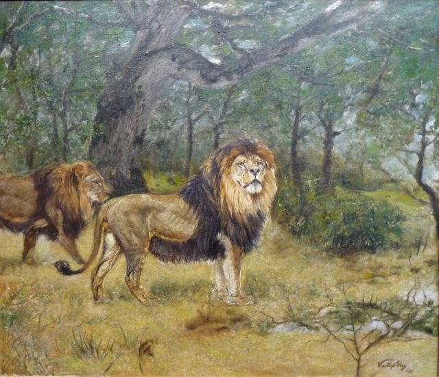 Géza Vastagh, 'Löwen in Waldlandschaft (Lions in the Forest)', 1912, Painting, Oil on canvas, Henze & Ketterer & Triebold