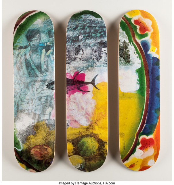 Robert Rauschenberg, 'Sri Lanka VI, triptych', 2016, Print, Screenprints in colors on skate decks, Heritage Auctions