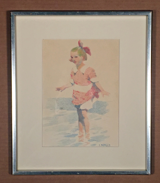 Edward Henry Potthast, 'GIRL WADING', ca. 1900, Drawing, Collage or other Work on Paper, Colored pencils, Edward T. Pollack Fine Arts