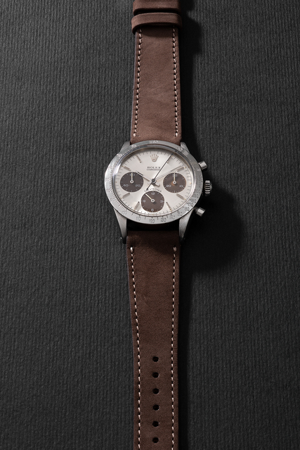 """Rolex, 'A highly attractive and rare stainless steel chronograph wristwatch with """"tropical"""" subsidiary dials', Circa 1970, Phillips"""