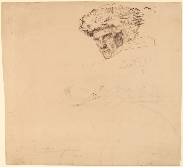 """Emanuel Gottlieb Leutze, 'Studies for """"Washington Crossing the Delaware"""" [recto]', 1849, Drawing, Collage or other Work on Paper, Pen and brown ink and graphite on wove paper, National Gallery of Art, Washington, D.C."""