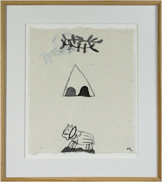 , 'Horse in Desert w/Teepee & Branches (2nd Image on Reverse),' 1991, David Barnett Gallery