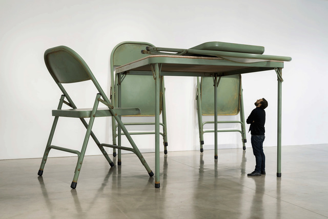 , 'No title (folding table and chairs, green),' 2008, Gagosian