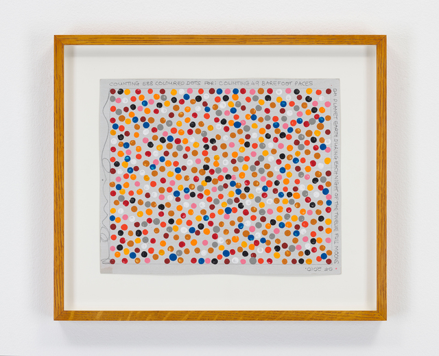 Hamish Fulton, 'Untitled (Counting 588 Coloured Dots), Planet Earth, 2010', 2010, Drawing, Collage or other Work on Paper, Paint and text on paper, Parafin